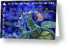 Clean Oceans Sea Turtle Art Greeting Card