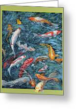 Clear Creek Koi With Painted On Mat Greeting Card