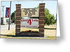 Clear Lake Fire Department Greeting Card