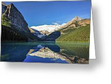 Clear Reflections In The Water At Lake Louise, Canada. Greeting Card