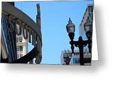 Clear Street Lamp Downtown Chicago Greeting Card