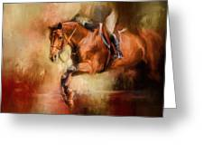 Clearing The Jump Equestrian Art Greeting Card