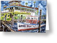 Clearwater Florida Boat Painting Greeting Card