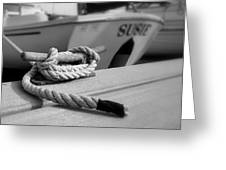Cleat Hitch Boat Art Greeting Card