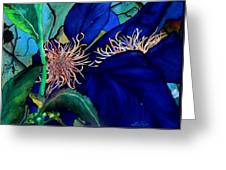 Clematis Regal In Purple And Blue Sold Greeting Card