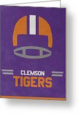 Clemson Tigers Vintage Football Art Greeting Card