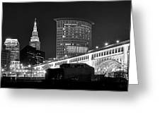 Cleveland Black And White Panoramic Greeting Card