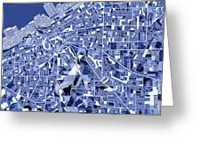 Cleveland Map Blue Greeting Card