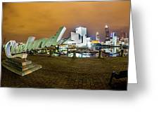 Cleveland Sign At Voinovich Park Greeting Card