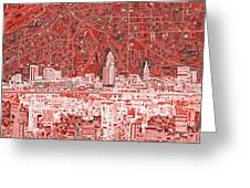 Cleveland Skyline Abstract 10 Greeting Card