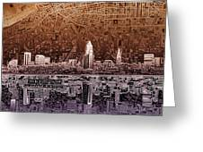 Cleveland Skyline Abstract 2 Greeting Card
