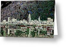 Cleveland Skyline Abstract 4 Greeting Card