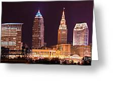 Cleveland Skyline Night Color - Downtown Buildings Greeting Card
