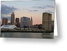 Cleveland Skyline And Port On The Cuyahoga River Greeting Card