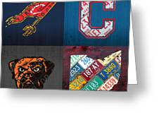 Cleveland Sports Fan Recycled Vintage Ohio License Plate Art Cavaliers Indians Browns And State Map Greeting Card
