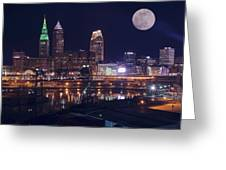 Cleveland With Full Moon Greeting Card