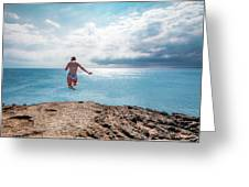 Cliff Jumping Greeting Card by Break The Silhouette
