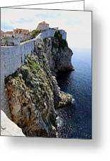 Cliff Top Walls Of Dubrovnik Greeting Card