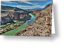 Cliff View Of Big Bend Texas National Park And Rio Grande  Greeting Card