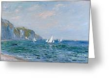 Cliffs And Sailboats At Pourville  Greeting Card