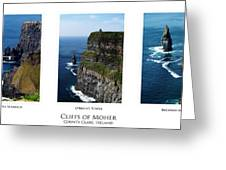 Cliffs Of Moher Ireland Triptych Greeting Card