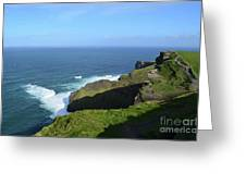 Cliff's Of Moher With White Water At The Base In Ireland Greeting Card