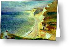 Cliffs On The Coast Near Pourville 1879 Greeting Card