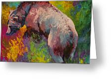 Climbing The Bank - Grizzly Bear Greeting Card