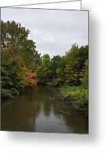 Clinton River In Autumn Cloudy Day Greeting Card
