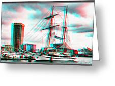 Clipper City - Use Red-cyan 3d Glasses Greeting Card