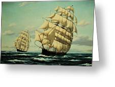 Clipper Ships Racing To Port Greeting Card