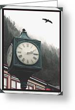 Clock Raven Greeting Card