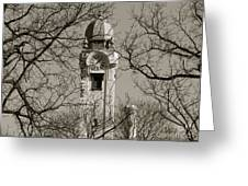 Clock Tower In Black And White Greeting Card