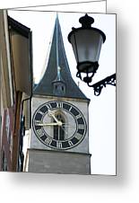 Clock Tower In Frankfurt In Germany Greeting Card