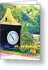 Clock Tower In The Garden Greeting Card