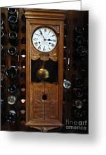 Clock Wine Rack Greeting Card by Valia Bradshaw