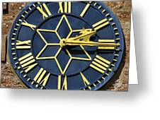 Clock With Gold Hands. Greeting Card