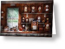 Clocksmith - In The Clock Repair Shop Greeting Card by Mike Savad