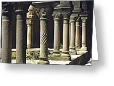 Cloister Of Lavaudieu. Haute Loire. Auvergne Greeting Card