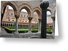 Cloister Of The Abbey Of Monreale. Greeting Card