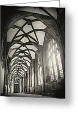 Cloisters Of Basel Munster Switzerland In Black And White  Greeting Card