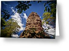 Cloning Out Tourists At Ta Prohm Temple, Angkor Archaeological Park, Siem Reap Province, Cambodia Greeting Card