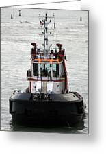 Close Up Of A Tugboat In Venice Harbor Greeting Card
