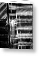 Close Up Of Black And White Glass Building Greeting Card
