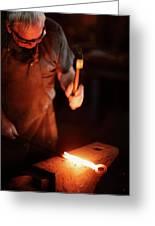Close-up Of  Blacksmith Forging Hot Iron Greeting Card