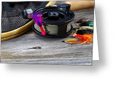 Close Up Of Fly Reel With Fly Jig Hanging From Spool  Greeting Card