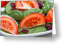Close Up Of Fresh Spinach Salad On White Plate  Greeting Card