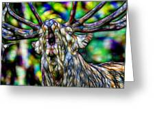 Close Up Of Huge Male Elk Bugling Greeting Card