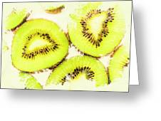 Close Up Of Kiwi Slices Greeting Card
