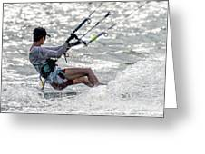 Close-up Of Male Kite Surfer In Cap Greeting Card